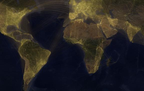 carte du monde présentant les collaborations entre les scientifiques